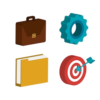 Business set isometrics icons