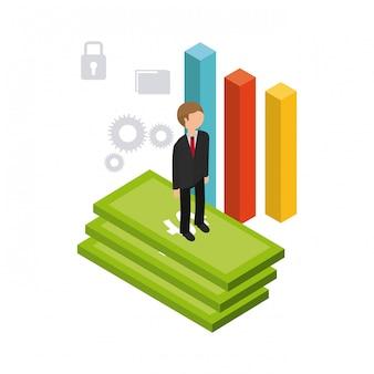 Business set isometrics icons