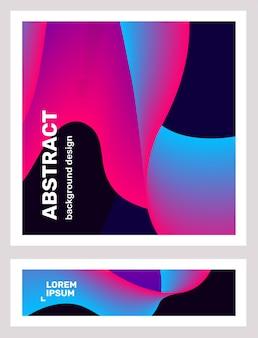 創造的な青とピンクの抽象化のビジネスセット