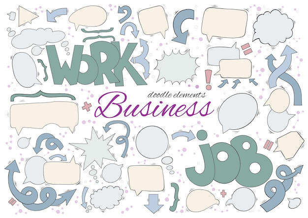 Business set of speech and thought bubbles elements.