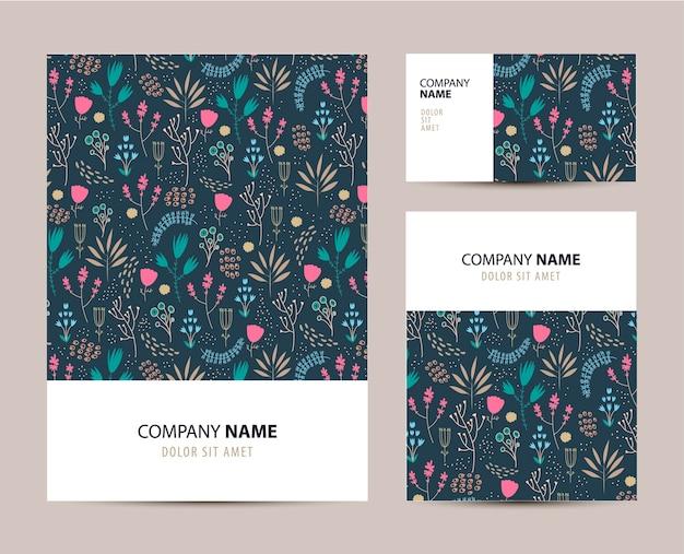 귀여운 손으로 그린 꽃 패턴 비즈니스 세트 템플릿