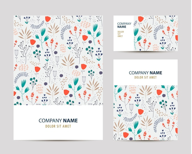 Business set template with cute hand drawn flower pattern