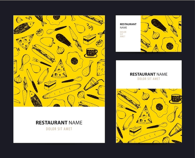 Business set template with hand drawn food illustrations. restaurant or cafe branding elements. Premium Vector