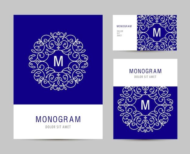 モノグラム文字のロゴとビジネスセットテンプレート。ビジネスブランディング要素、カード。チラシ。