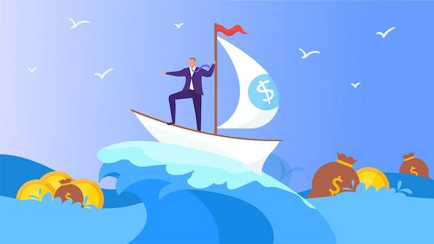 イラスト、海の男とビジネス船。ボートで実業家magaerキャラクターはお金と漫画の成功を探します。