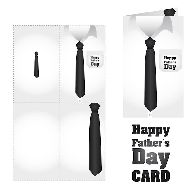 Business shirt with tie happy fathers day card vector