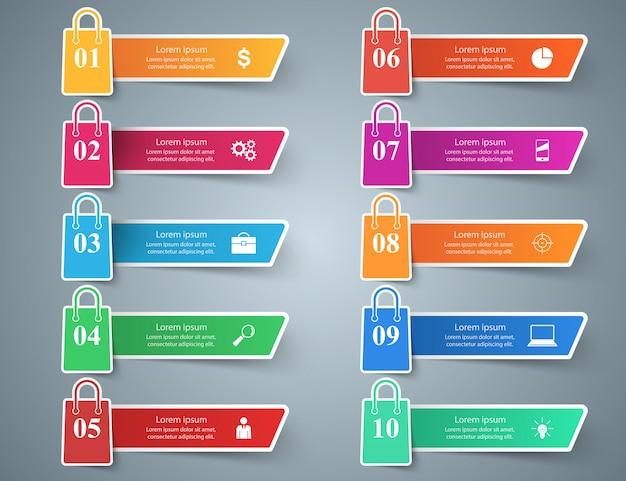 Business, shop, cart - ten paper infographic