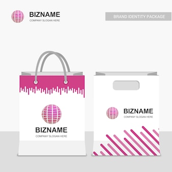 Business shopping bags design with world logo vector