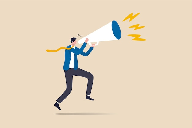 Business shout out, speaking out loud to communicate with co-worker or draw attention and announce