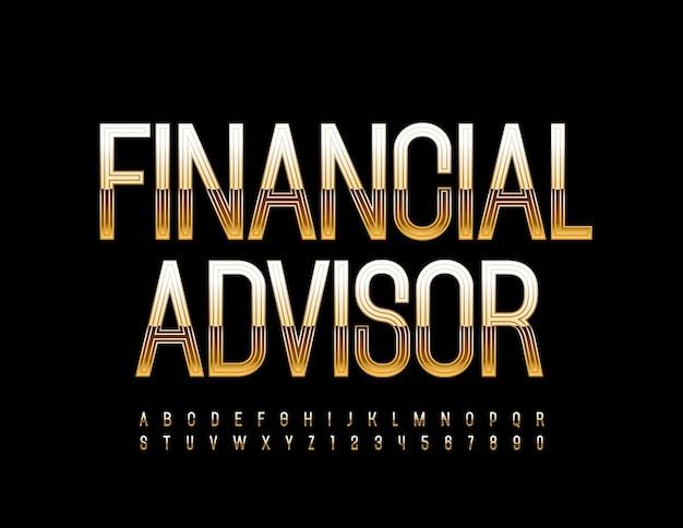 Деловой знак финансовый консультант золотой современный шрифт элегантный стиль буквы и цифры алфавита