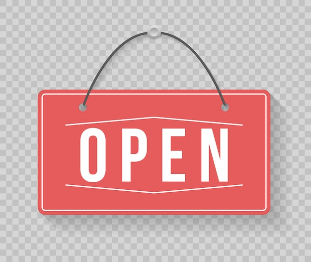 A business sign that says come in, we're open. image of various open and closed business signs. signboard with a rope. illustration,  .