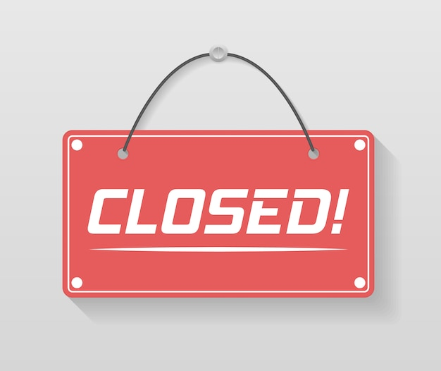 A business sign that says come in, we're open. signboard with a rope. image of various open and closed business signs.  illustration, .