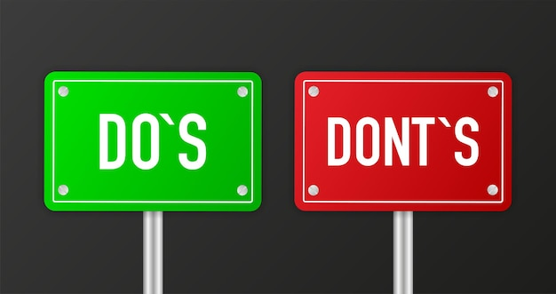 비즈니스 서명 예 또는 아니오 및 dos 또는 dosnt 권장 흰색 배경비즈니스 만족도 지원