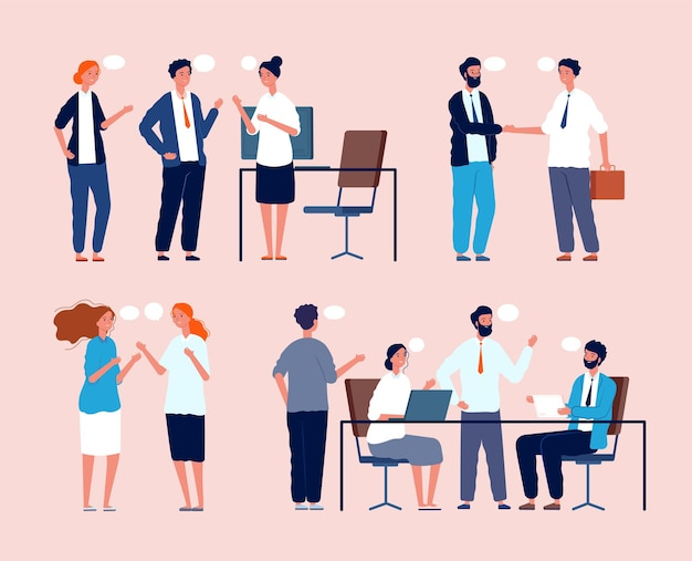 Business situation. dialog between persons sitting at table in office people meeting flat pictures. business worker and brainstorming, organization workspace, employee negotiation illustration