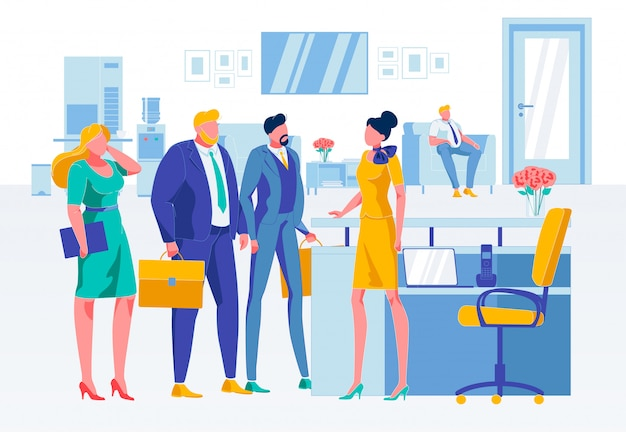 Business situation at reception flat illustration