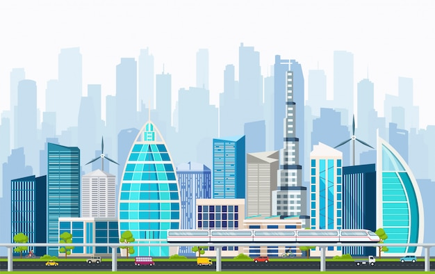 Business smart city with large modern buildings.
