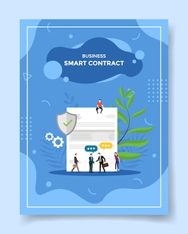 Business smart contract people businessman handshake around agreement letter shield protection for template of banners