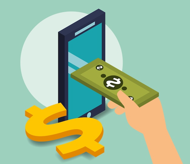 Business smartphone banknote payment dollar money isometric