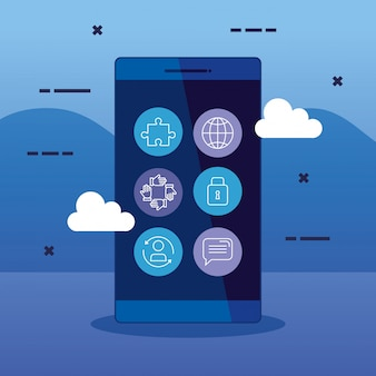 Business smartphone technology strategy with icons