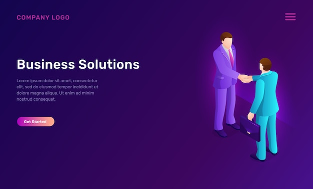 Business solution and agreement isometric concept