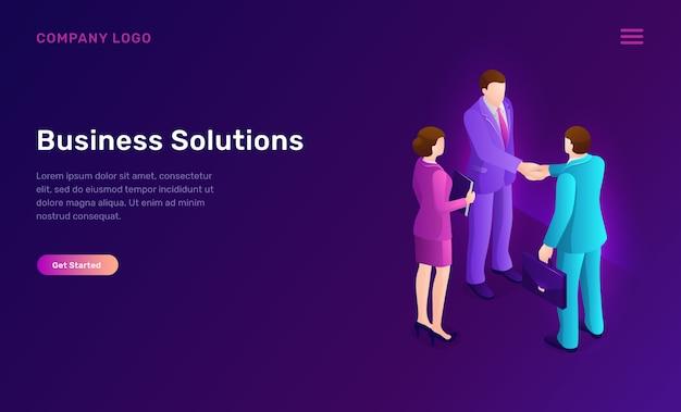 Бизнес-решение и соглашение изометрической концепции Бесплатные векторы