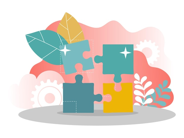 웹 디자인, 배너, 모바일 앱, 방문 페이지, 벡터 평면 디자인을 위한 비즈니스 솔루션 개념 그림
