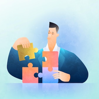 Business solution concept illustration with businessman solving jigsaw puzzle figuring out what is best