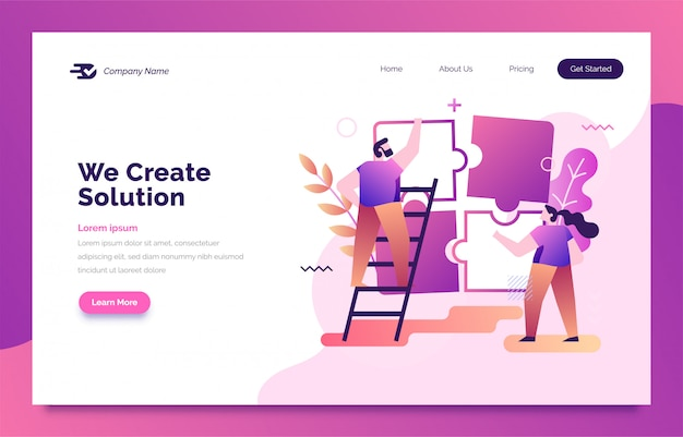 Business solution landing page for web