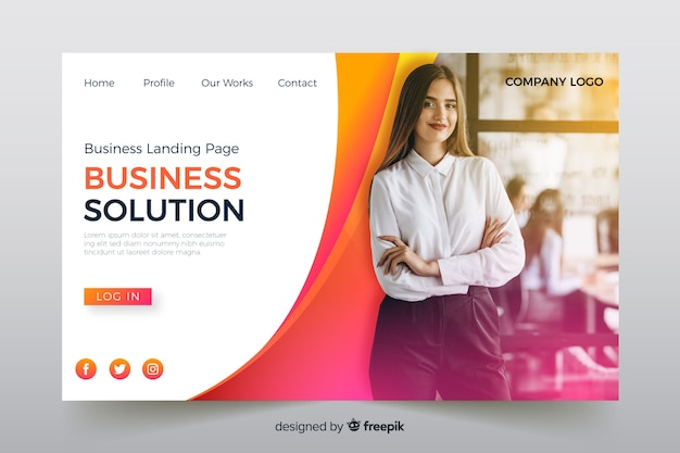 Business solution landing page with photo