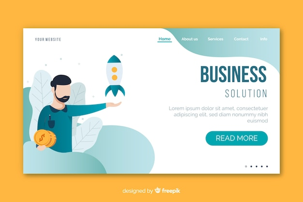 Business solution landing page