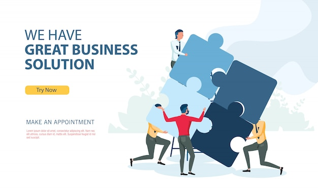 Business solution program with flat design concept