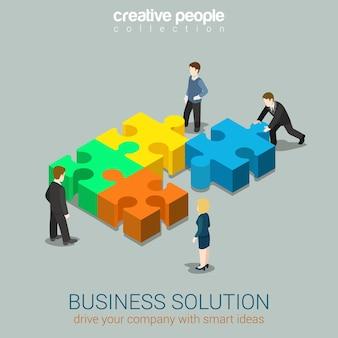 비즈니스 솔루션 스마트 아이디어 개념 평면 3d 웹