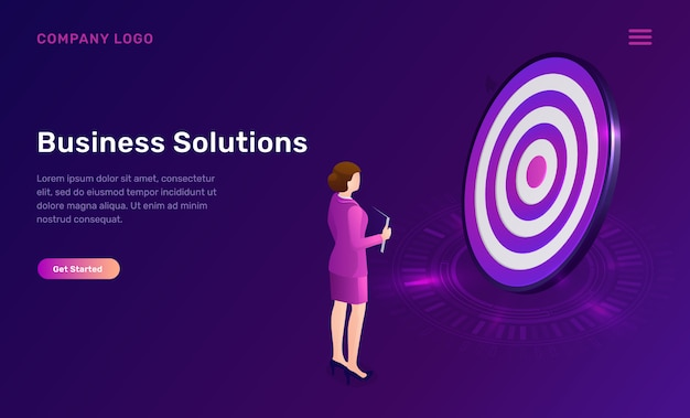 Business solution, target achievement isometric