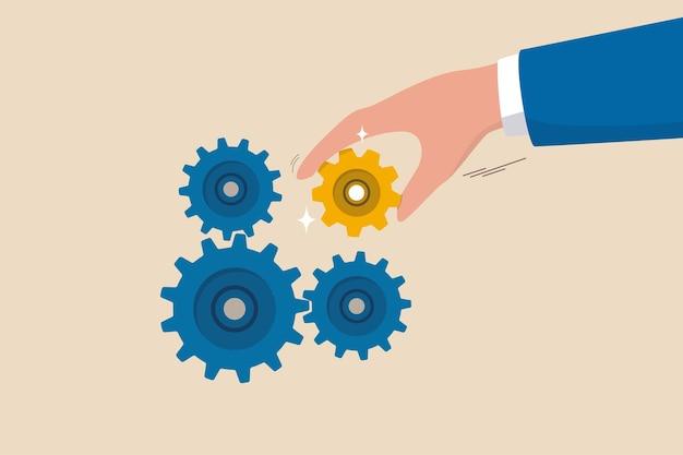 문제를 해결하기 위한 비즈니스 솔루션, 성공을 주도하는 전문 지식 및 기술, 비즈니스 부분 전략 개념을 연결하는 리더십, 사업가가 중요한 장비나 톱니바퀴를 넣어 기계를 잘 작동시킵니다.