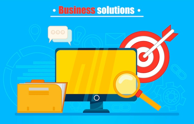 Business solutions banner or background. computer with folder, magnifying glass, darts