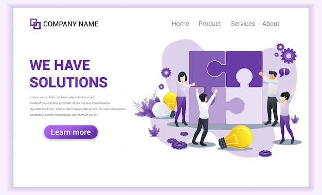 Business solutions landing page. v