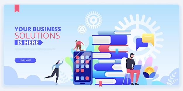 비즈니스 솔루션 방문 페이지 벡터 템플릿입니다. etrading 온라인 코스 웹사이트 홈페이지 인터페이스