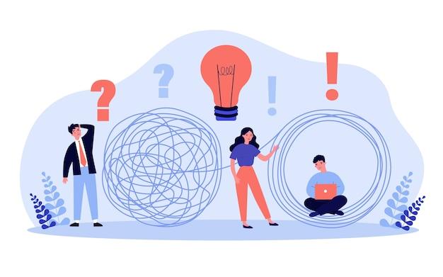 비즈니스 솔루션은 유. 아이디어 전구 및 노트북 전문가 사업가의 얽힘을 풀다. 문제 해결, 도전, 성취 개념에 대한 그림