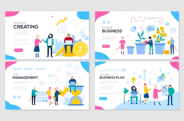 Business solutions, planning and strategy, startup, time management. set of web page templates.