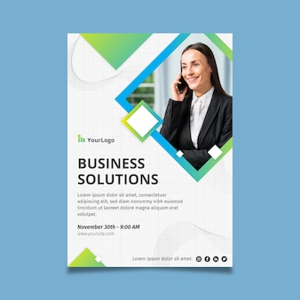 Business solutions poster corporate template