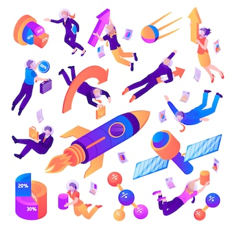 Business space isometric set of different flying spacecrafts people and business symbols isolated