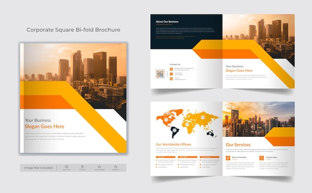 Business square bifold brochure cover design template