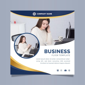 Шаблон бизнес-квадратного флаера с фото