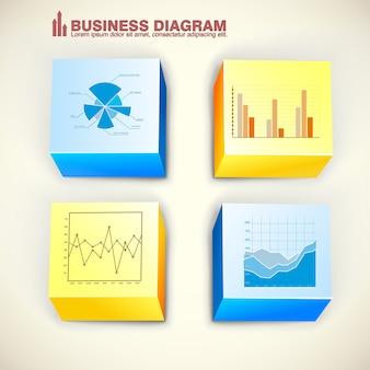 Infographics dei quadrati di affari con il grafico dei grafici del diagramma dei cubi colorati su fondo chiaro isolato