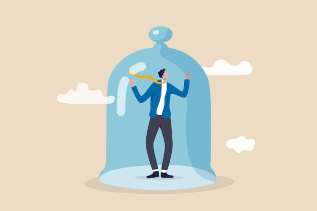 Business stagnation with no growth, obstacle or limitation in career development, punishment with no freedom in business concept, depressed businessman imprison or covered in small glass dome.