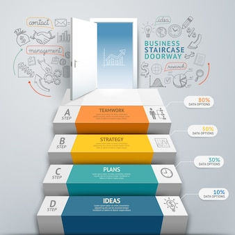 ビジネス階段の出入り口の概念的なインフォグラフィック。 。