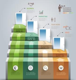 ビジネス階段の出入り口の概念的なインフォグラフィック。