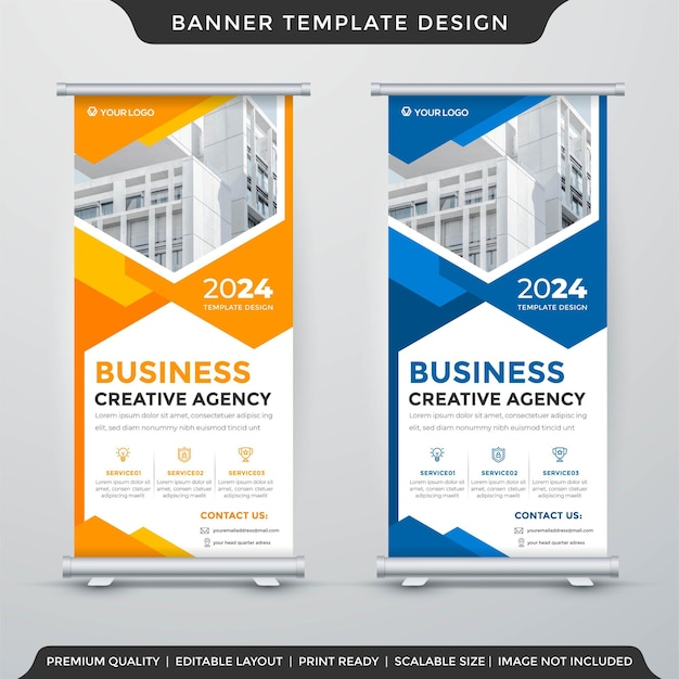 Business stand banner layout template premium style