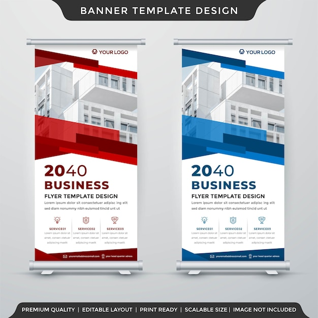 Business stand banner layout template premium style Premium Vector