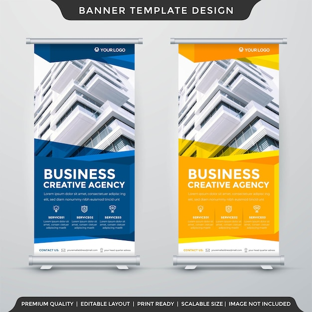 Business stand banner layout template premium vector